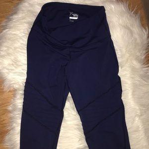 Navy blue full length detailed gym leggings